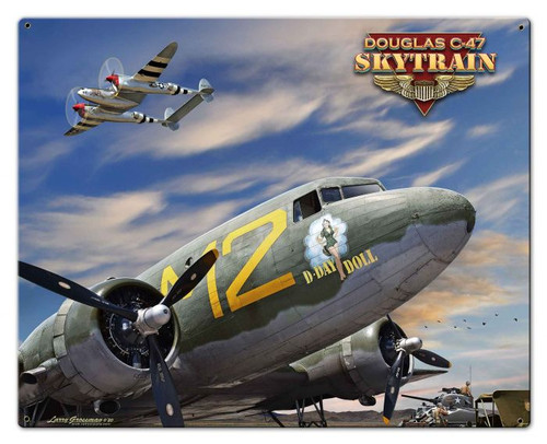 C-47 Skytrain Airplane Metal Sign 30 x 24 Inches