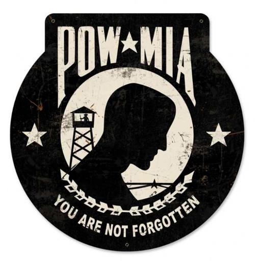 Retro POW MIA Metal Sign 16 x 16 Inches
