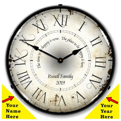 Personalized Roman Antique LED Lighted Wall Clock 14 x 14 Inches (Add Your Name and Year)