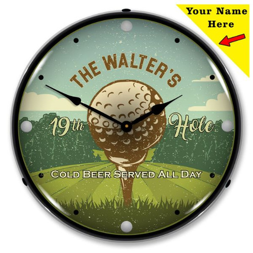 Personalized 19th Hole LED Lighted Wall Clock 14 x 14 Inches