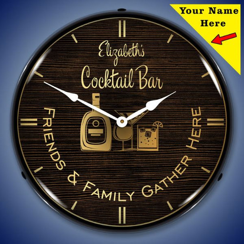 Personalized Cocktail Bar LED Lighted Wall Clock 14 x 14 Inches