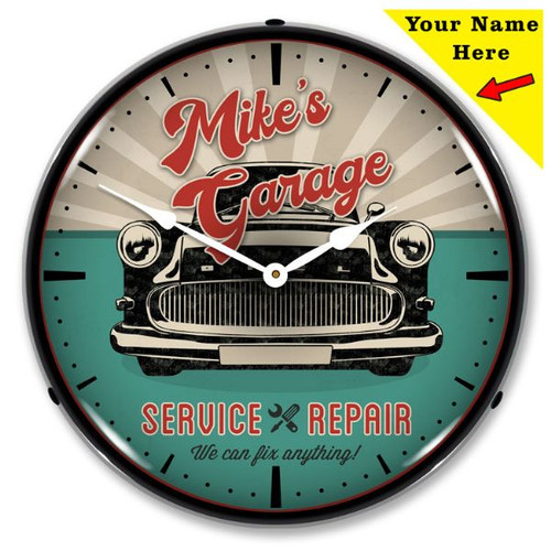 Personalized Garage Service and Repair LED Lighted Wall Clock 14 x 14 Inches (Add Your Name)