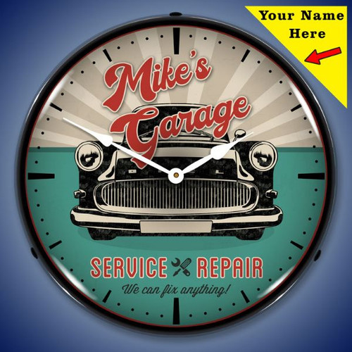 Personalized Garage Service and Repair LED Lighted Wall Clock 14 x 14 Inches