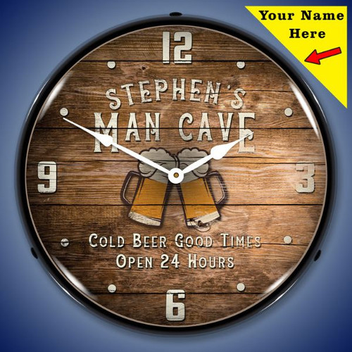 Personalized Man Cave LED Lighted Wall Clock 14 x 14 Inches