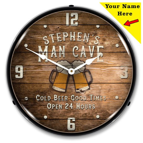 Personalized Man Cave LED Lighted Wall Clock 14 x 14 Inches (Add Your Name)