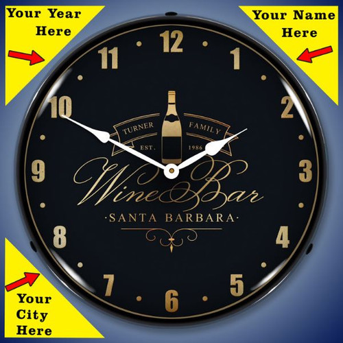 Personalized Wine Bar LED Lighted Wall Clock 14 x 14 Inches
