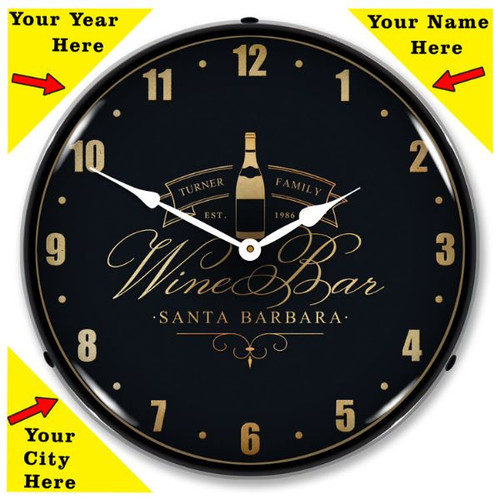 Personalized Wine Bar LED Lighted Wall Clock 14 x 14 Inches (Add Your Name /City/State/Year)