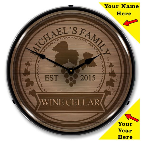 Personalized Wine Cellar LED Lighted Wall Clock 14 x 14 Inches