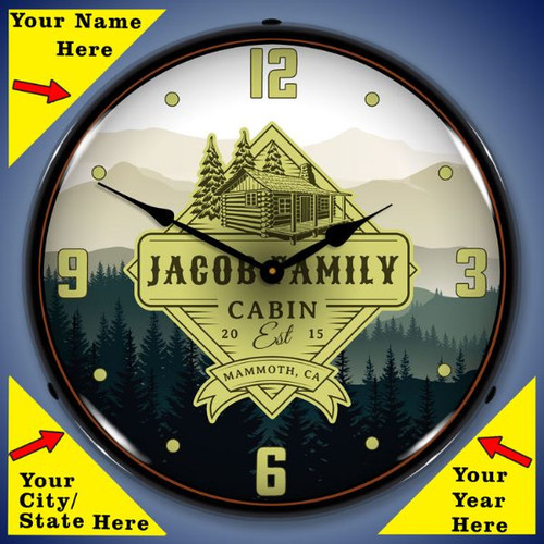 Personalized Family Cabin LED Lighted Wall Clock 14 x 14 Inches