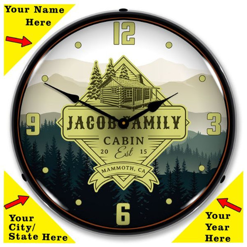 Personalized Family Cabin LED Lighted Wall Clock 14 x 14 Inches (Add Your Name /City/State/Year)