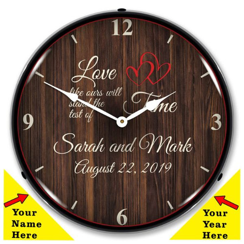 Personalized Love Like Ours LED Lighted Wall Clock 14 x 14 Inches (Add Your Name and Date)