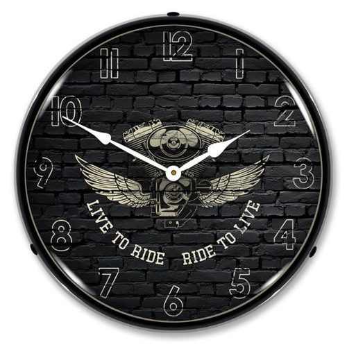 Live to Ride Ride to Live LED Lighted Wall Clock 14 x 14 Inches