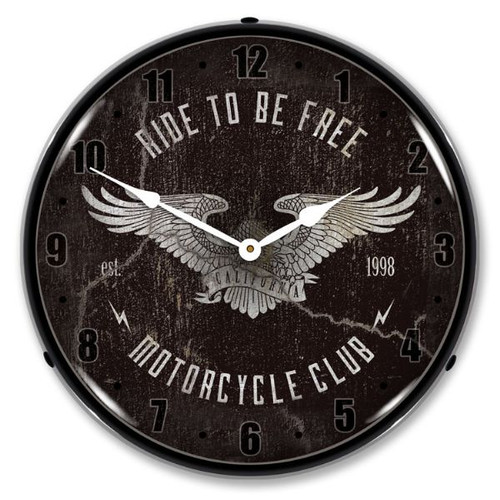 Ride to be Free LED Lighted Wall Clock 14 x 14 Inches