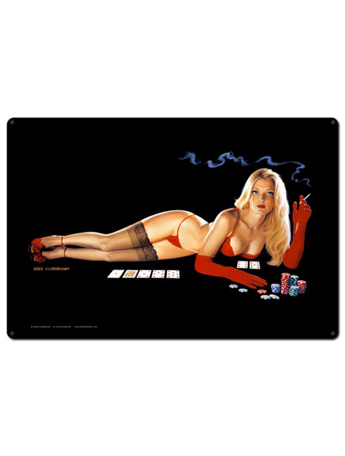 Red Light Poker Pinup Metal Sign 36 x 24 Inches