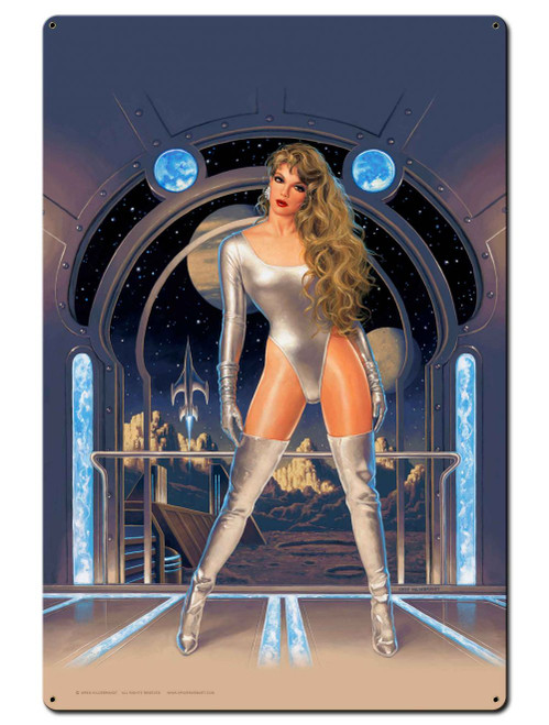 Lunar Fantasy Pinup Girl Metal Sign 24 x 36 Inches