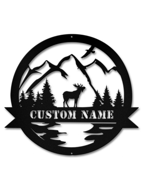 Alpine Moose Cutout Metal Sign - Personalized 15 x 14 Inches