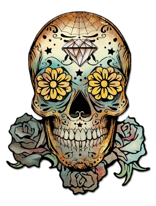 3-D Sugar Skull Metal Sign 28 x 36 Inches