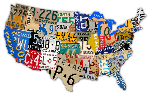 License Plate Map USA Metal Sign 40 x 25 Inches