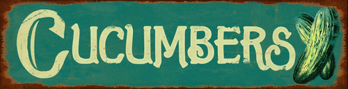 Cucumber Metal Sign 20 x 5 Inches
