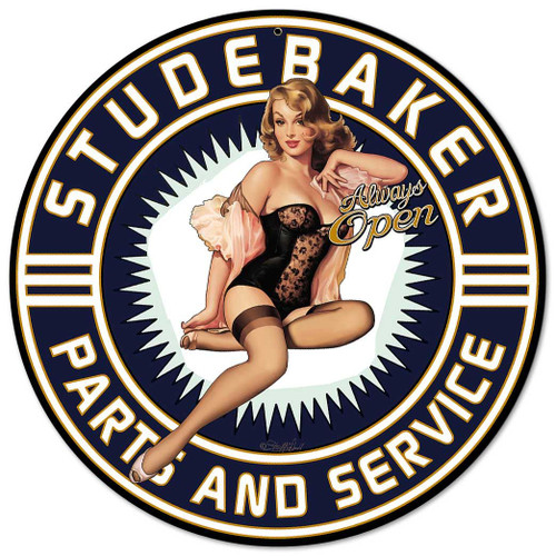 Studebaker - Pin-Up Girl Metal Sign 14 x 14 inches