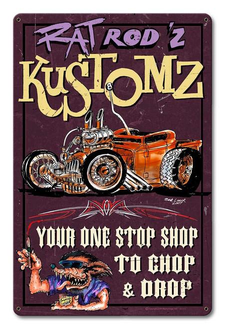 Rat Rodz Kustoms Metal Sign 12 x 18 Inches