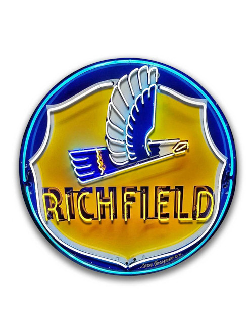 Richfield Gas Neon Style Metal Sign 16 x 16 Inches