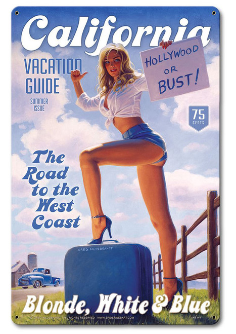 Blonde White and Blue Pinup Girl Metal Sign 24 x 36 Inches