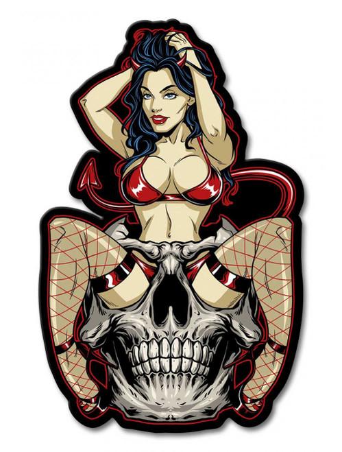 Devil Skull Girl Metal Sign 12 x 18 Inches