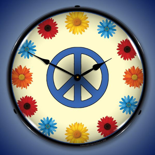 Flower Power LED Lighted Wall Clock 14 x 14 Inches