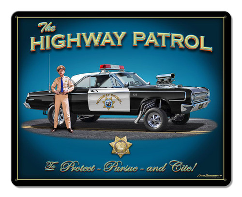 Highway Patrol Blue Metal Sign 15 x 12 Inches