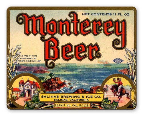 Monterey Beer Metal Sign 15 x 12 Inches