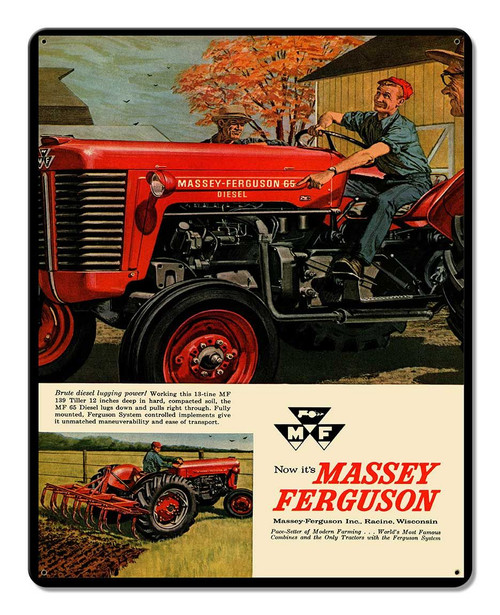 Massey Ferguson Tractor Ad Metal Sign 12 x 15 Inches