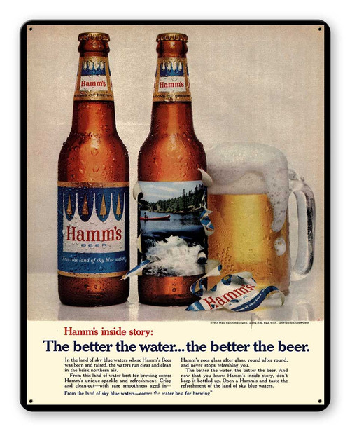 Hamms Beer Ad Metal Sign 12 x 15 Inches