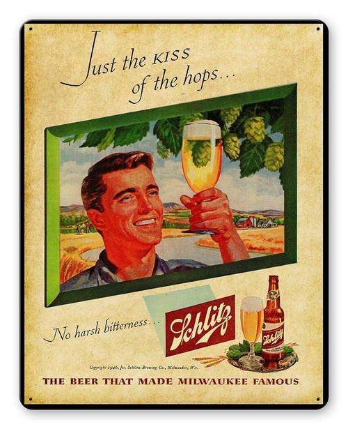 Schlitz Beer Metal Sign 12 x 15 Inches