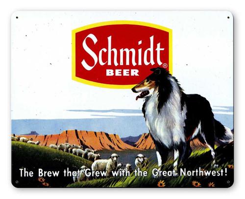 Schmidt Beer Ad Collie Metal Sign 15 x 12 Inches