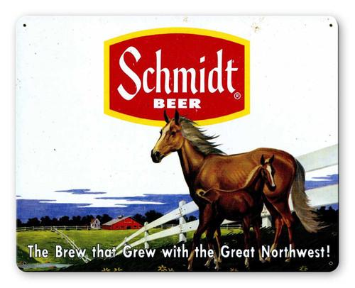 Schmidt Beer Ad Horses Metal Sign 15 x 12 Inches