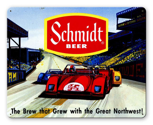 Schmidt Beer Ad Race Car Metal Sign 15 x 12 Inches