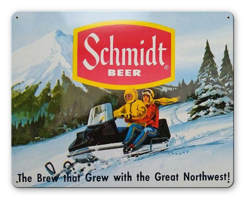 Schmidt Beer Ad Snowmobile Metal Sign 15 x 12 Inches