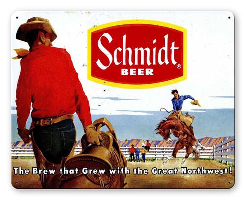Schmidt Beer Ad Rodeo Metal Sign 15 x 12 Inches
