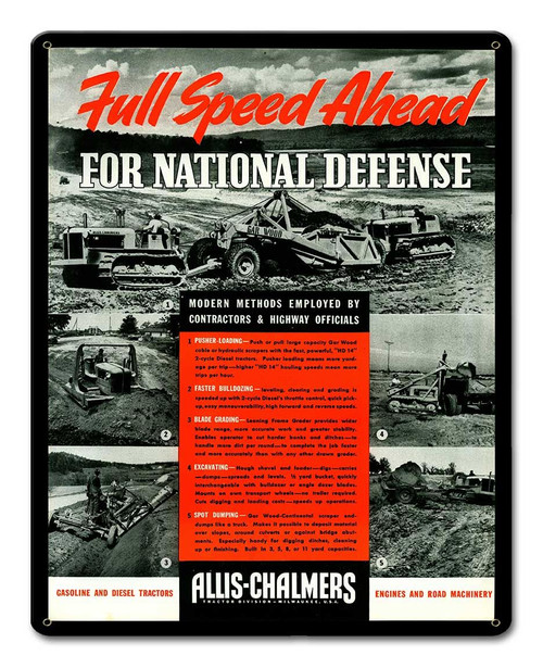 Allis Chalmers National Defense Metal Sign 12 x 15 Inches