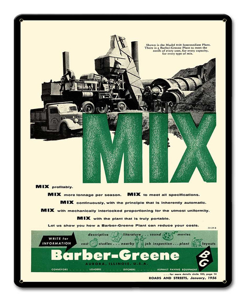 Barber Greene MIX Metal Sign 12 x 15 Inches