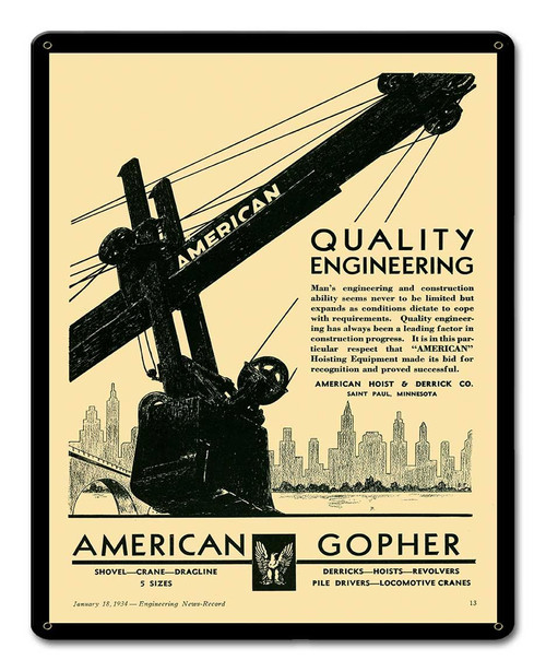 American Gopher Metal Sign 12 x 15 Inches