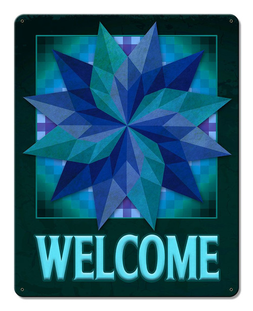 Around The World Starburst Welcome Metal Sign 12 x 15 Inches