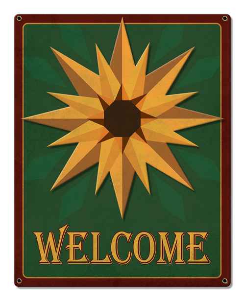 Sunflower Welcome Metal Sign 12 x 15 Inches