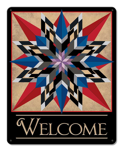 Double 16 Point Star Welcome Metal Sign 12 x 15 Inches