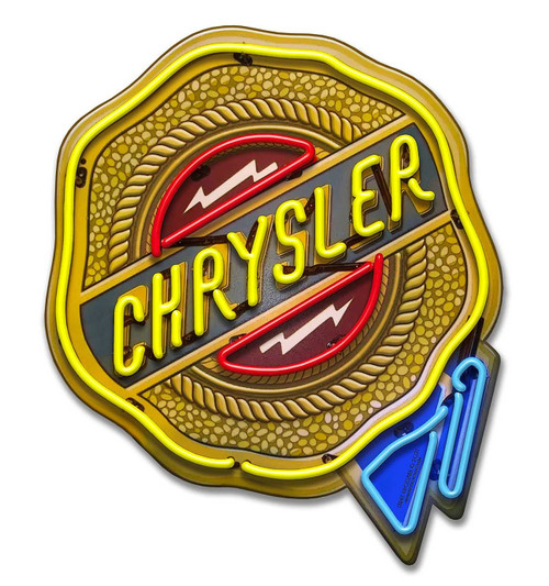 Chrysler Neon Style Metal Sign 18 x 21 Inches