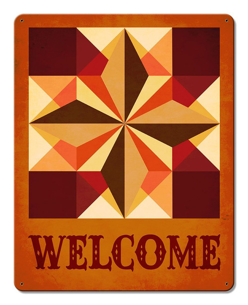 Six Square Welcome Metal Sign 12 x 15 Inches