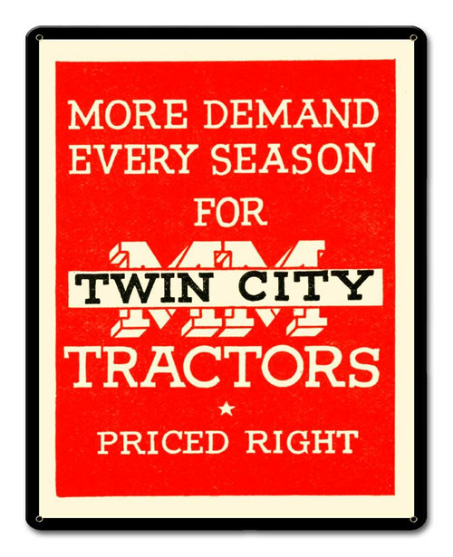 Twin City Tractors Metal Sign 12 x 15 Inches