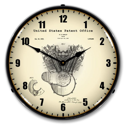 Harley Davidson Engine 1923 Patent LED Lighted Wall Clock 14 x 14 Inches