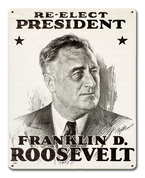 Reelect Roosevelt 1936 Metal Sign 12 x 15 Inches